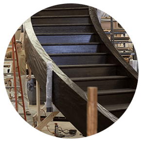 A close up of the construction of the Big Cedar Staircase